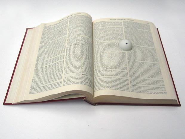 Cyclopedia: Encyclopedia Britannica volume (Trade Labour Union entry) ping pong ball, felt tip  Kypros Kyprianou 2014