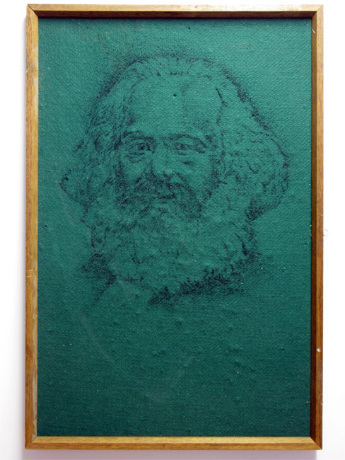 Notes on Marx (Pointillism, Art History Backwards) Noticeboard drawing using pinholes, 56cmx86cm Kypros Kyprianou, 2012