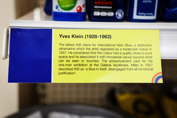 Yves Klein Blue shelf label
