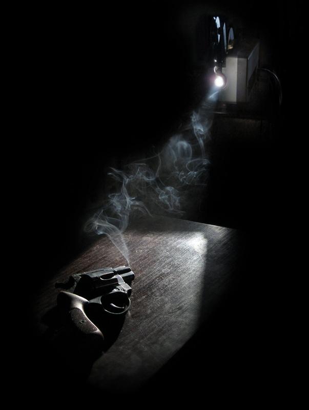 super 8 projector, pipe, smoke box, 38 calibre snub nosed revolver, desk